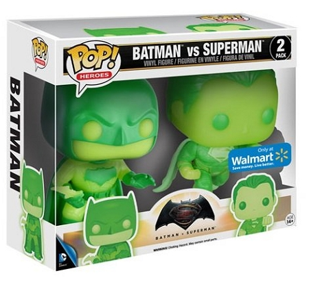 POP! Heroes DC: Batman v Superman - Green Batman & Green Superman GID Vinyl Figure 2-Pack (Walmart Exclusive)