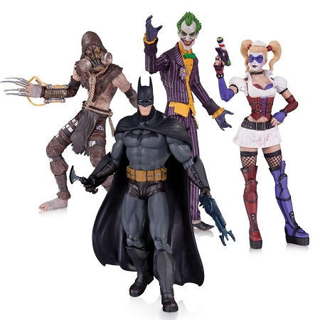 DC Collectibles: Batman: Arkham Asylum - The Joker, Harley Quinn, Batman & The Scarecrow Action Figure 4-Pack