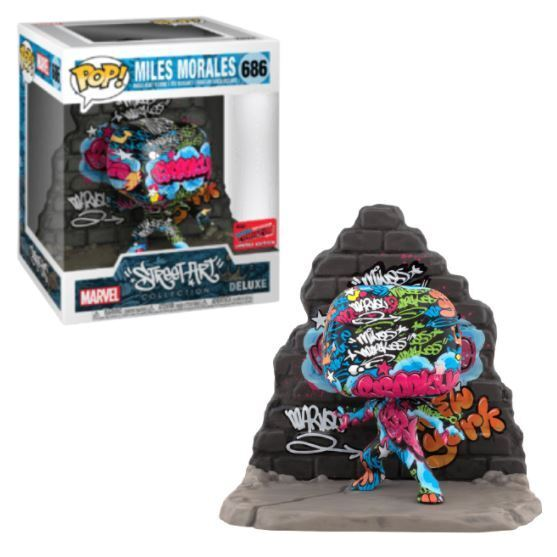 POP! Street Art Collection Deluxe - Miles Morales Bobble-Head Vinyl Figure #686 Limited Edition Fall Convention Exclusive