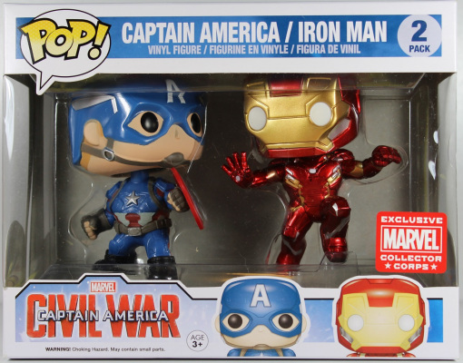 POP! Marvel: Captain America 3: Civil War - Captain America & Iron Man Vinyl Bobblehead 2-Pack (Marvel Collector Corps Exclusive)