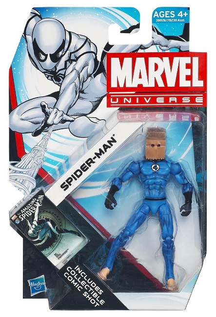 Marvel Universe: Series 4 - Future Foundation Spider-Man Action Figure #14 (Bag Head Variant)