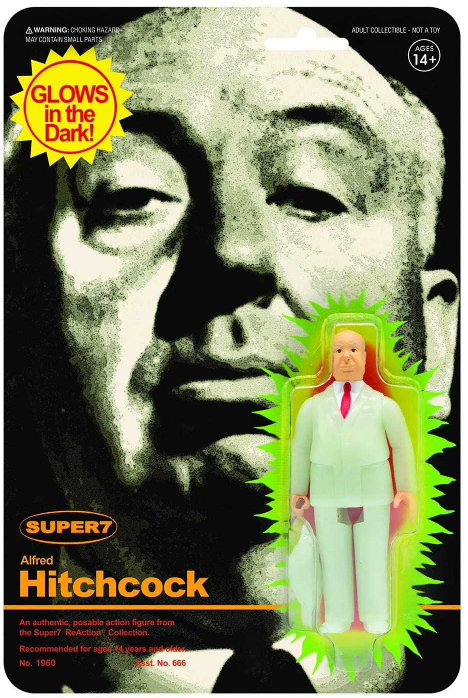 Super7 ReAction: Alfred Hitchcock Glow in the Dark Action Figure