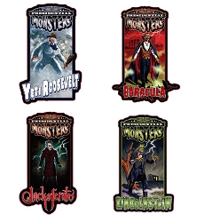 Presidential Monster Pin Set of 4 -  Yeti Rossevelt, Baracula, Jacksferatu & Lincolnstein [2019 NYCC Exclusive]
