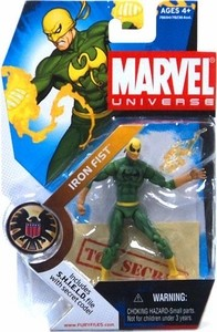 Marvel Universe: Series 1 - Iron Fist Action Figure #17 (Black Logo Variant)