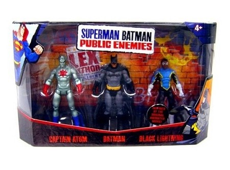 Mattel Superman Batman Public Enemies: Captain Atom, Black Lightning & Batman Figure 3-Pack